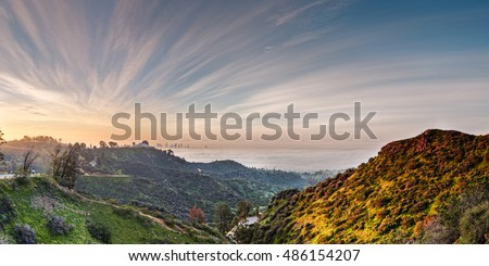 Sunrise View of the Griffith Observatory and Downtown Los Angeles from the Hollywood Hills