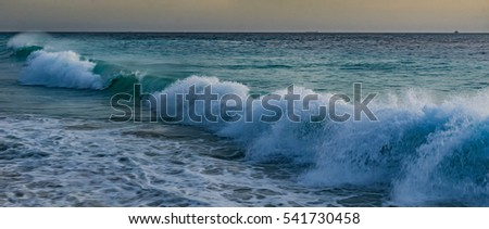 Sunset and rough wave  Views around Curacao a small Caribbean Island