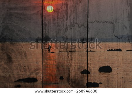 """sunset at sea"" The wood painting concept"