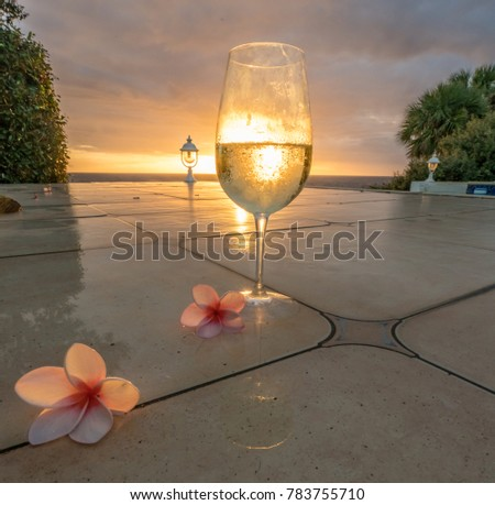 Sunset drinks at the ocean  View around the Caribbean Island of Curacao