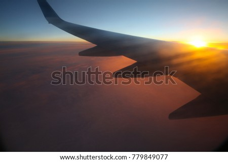 Sunset from the window of the plane.