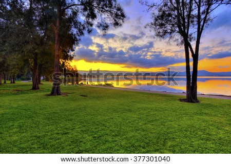 Sunset over lake illawarra