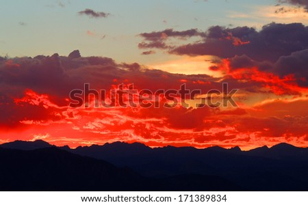 sunset over the front range from broomfield, colorado        - stock photo