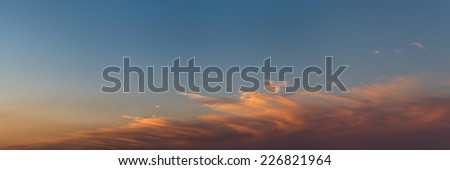 Sunset sky with clouds. Panorama.  - stock photo
