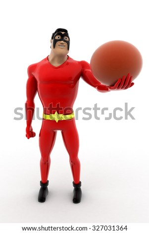 superhero with basket ball concept on white background - 3d rendering, front angle view - stock photo