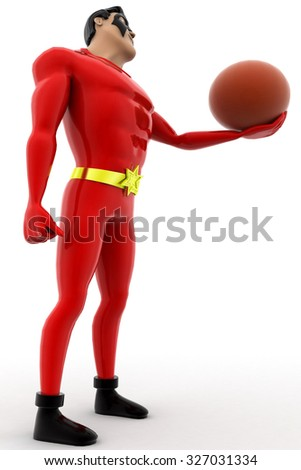 superhero with basket ball concept on white background - 3d rendering,  low side angle view - stock photo