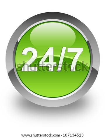 24/7 support icon on glossy green round button