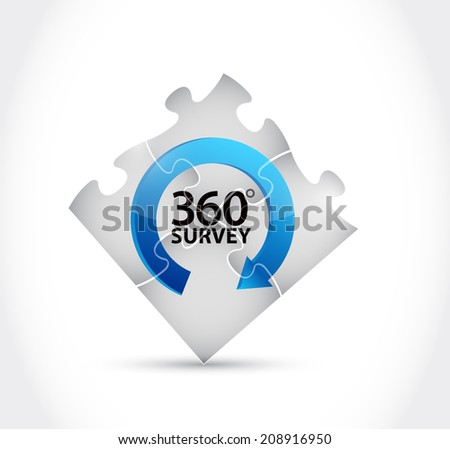 360 survey puzzle cycle illustration design over a white background - stock photo