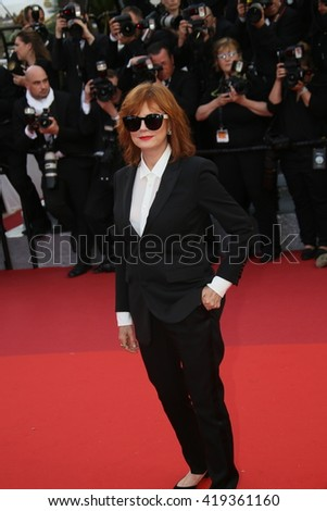 Susan Sarandon attends the 'Cafe Society' premiere and the Opening Night Gala during the 69th Cannes Film Festival at the Palais des Festivals on May 11, 2016 in Cannes, France. - stock photo