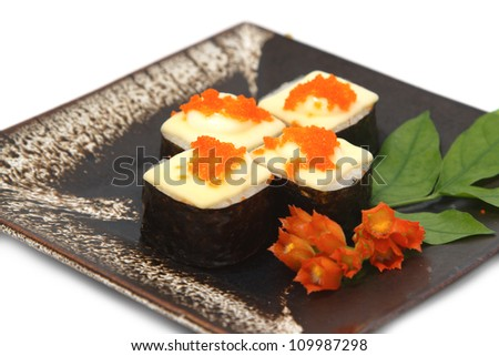 sushi,japanese food  display on dish ,in white background