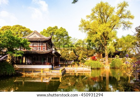 SUZHON, JIANGSU/CHINA-APR 13: Liuyuan(Lingering) Garden -One of Chinese classical garden on Apr 13,2015 in Suzhou, Jiangsu, China. Suzhou is a famous tourist destination. - stock photo
