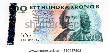 100 Swedish crown bank note. Swedish crown is the national currency of Sweden