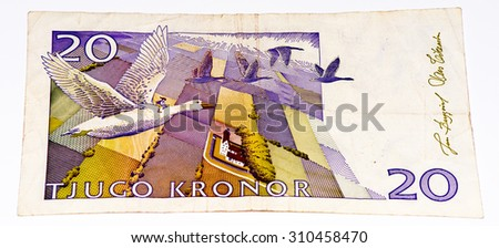20 Swedish crown bank note. Swedish crown is the national currency of Sweden - stock photo