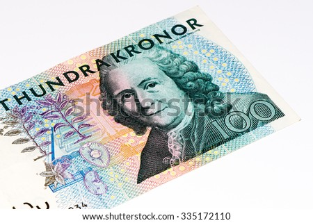 100 Swedish crown bank note. Swedish crown is the national currency of Sweden - stock photo
