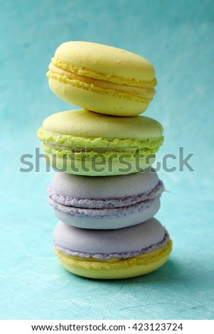 sweet and colourful french macaroons, food - stock photo