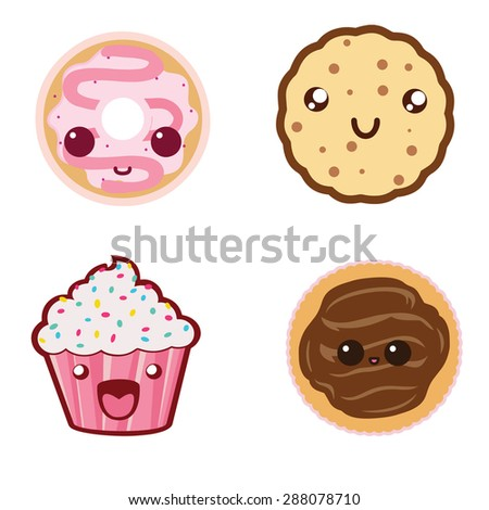 sweet food icons illustration (cookie, donut, pie, cupcake) - stock photo