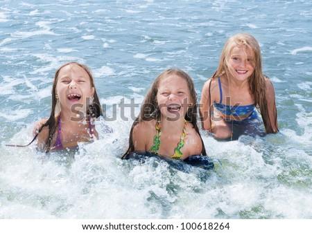 swimming children - stock photo