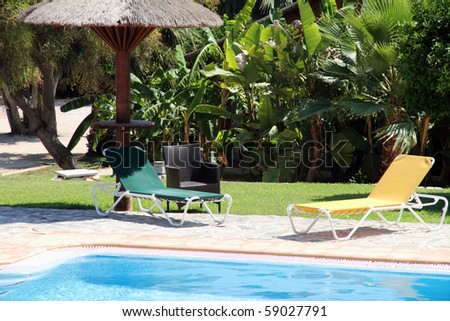 Swimming pool Resort hotel Buenavista Denia Alicante Costa Blanca Spain - stock photo