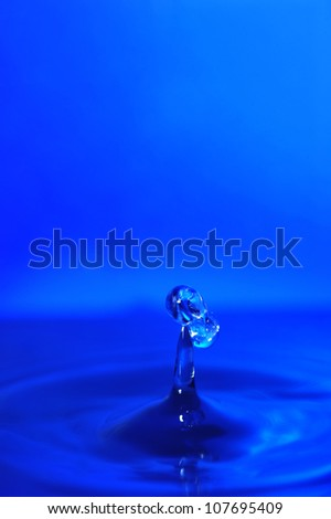 swirling water splash isolated on blue  background