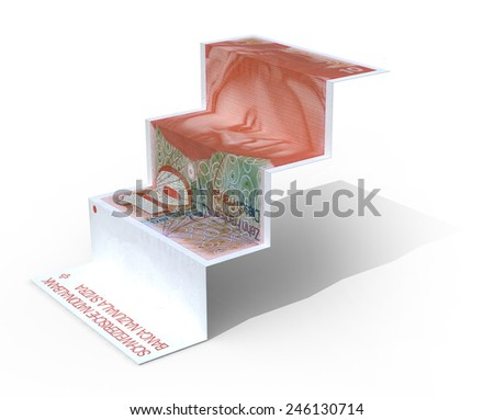 10 swiss franc banknote folded as steps on white background, 3d illustration - stock photo