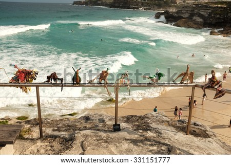 SYDNEY, AUSTRALIA - OCTOBER 25, 2015:  The world's largest annual free-to-the-public outdoor sculpture exhibition, Sculpture by the Sea, is held on the coastal walk between Bondi beach and Tamarama.