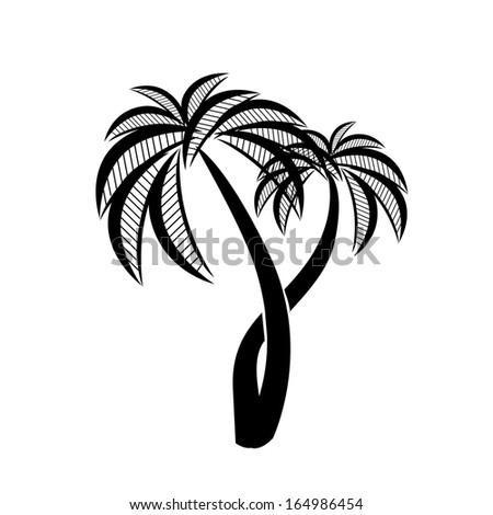 symbol palm. Raster - stock photo
