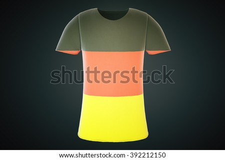 T-shirt with a German flag print isolated on a black background. Front view. 3D Render