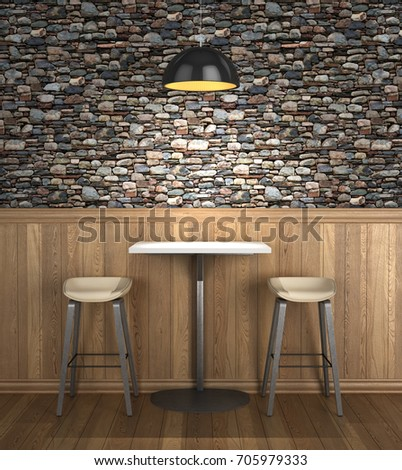 table in the cafe the decor on the wall of wooden panels 3d illustration