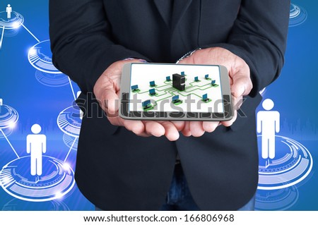 tablet computer in the hand - stock photo