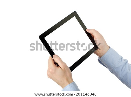 tablet computer. Isolated over white background. - stock photo