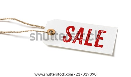 Tag on a white background with the text Sale - stock photo