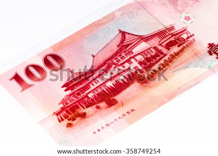 100 Taiwan dollar bank note. New Taiwan dollar is the national currency of Taiwan