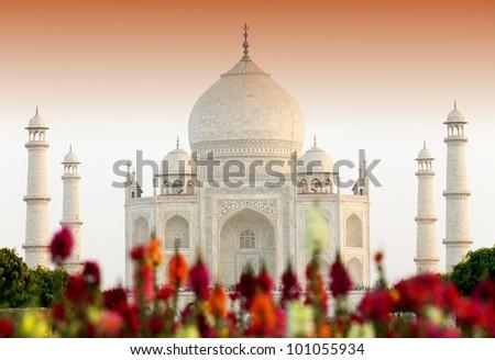 Taj Mahal in sunset light, Agra, Uttar Pradesh, India - stock photo