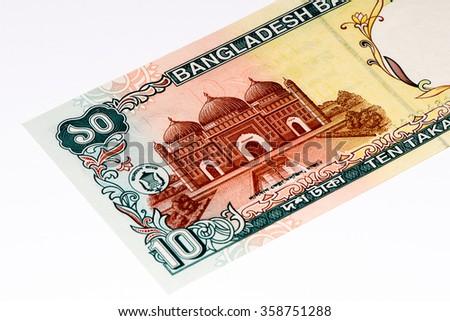 10 taka bank note. Taka is the national currency of Bangladesh - stock photo