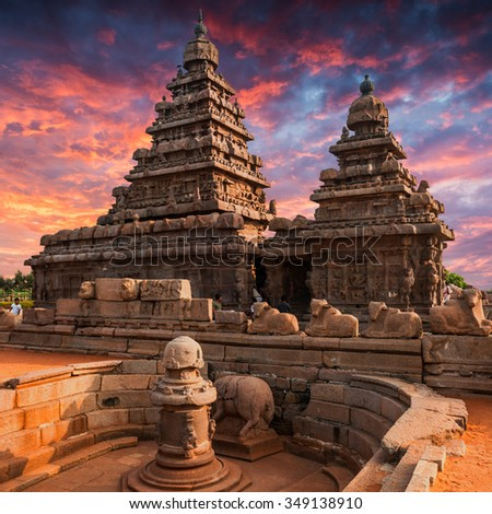Tamil Nadu landmark - Shore temple  in Mahabalipuram, Tamil Nadu, India - stock photo