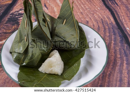 """Tapai pulut'""is a traditional Malay food in asia.traditional food concept. DOF and copy space"
