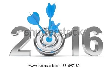 2016 target 3d render illustration - stock photo