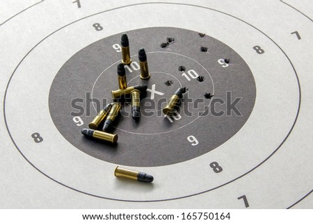 .22 Target pistol and ammunition - stock photo