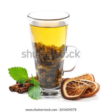 Tea, cinnamon and mint  - stock photo