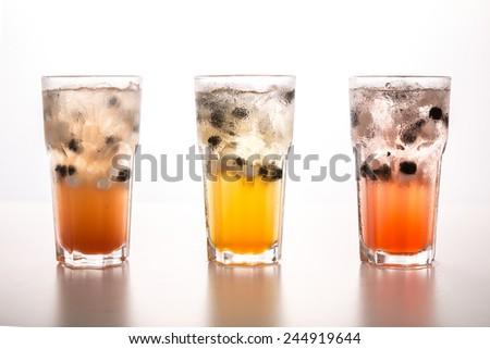 tea with soda on white  background - stock photo