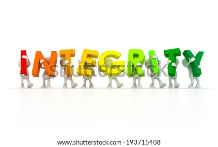 Team holding Integrity word - stock photo