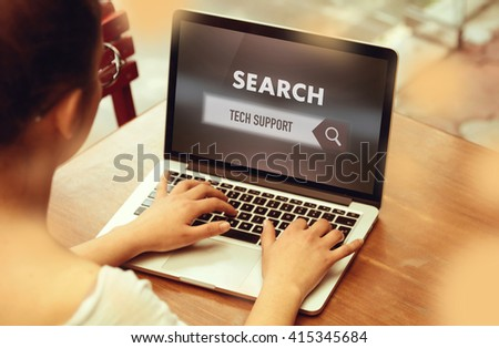 """ Tech Support "" Internet Data Technology Concept - stock photo"