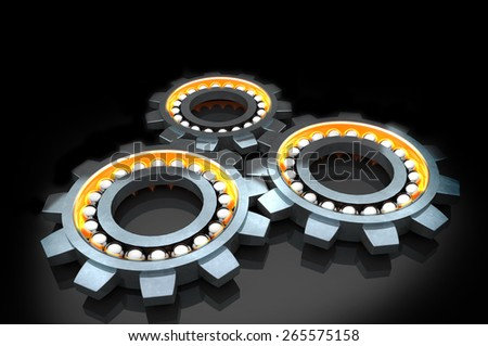 technology gears, 3d  illustration. - stock photo
