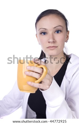 Teenager Drinking Coffee Looking at the Camera - Isolated Background