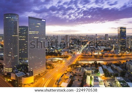 Tel Aviv city - View of Tel Aviv at sunset Out of Window - stock photo