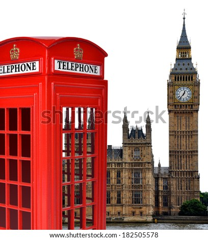 Telephone box and the Big Ben in London,England,UK - stock photo