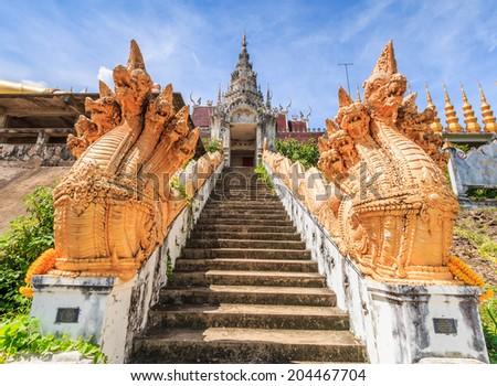 Temple entrance Wat Phra Mongkol Kiri, Phrae Province, Thailand - stock photo