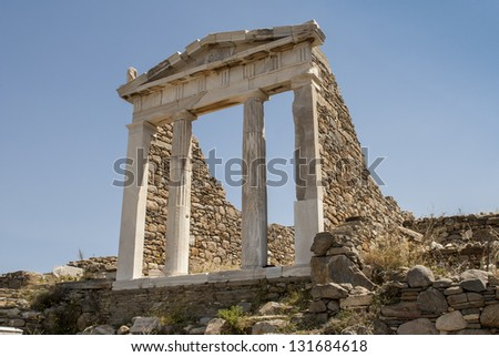 temple of Isis in archaeological site on island Delos - stock photo