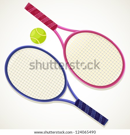 Tennis rackets and ball /  vector ID: 83190424 - stock photo