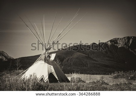 Tepee on the plains of Alberta with an antique plate effect. - stock photo
